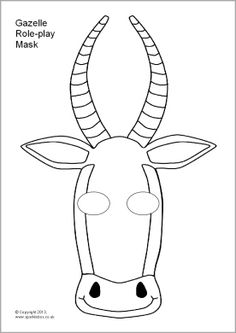 Gazelle Role-Play Mask Template (Color or Black & White