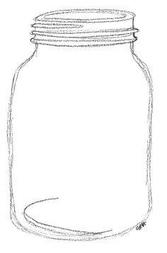 Template Blank Mason Jar Outline Card, Wedding, or any