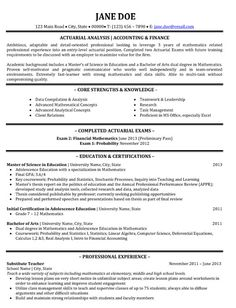 sample resume actuarial student