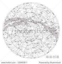 Celestial Star Chart Constellations, Northern Hemisphere