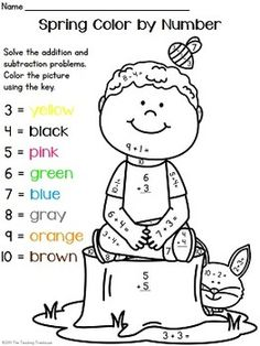 Number worksheets, Simple addition and Color by numbers on