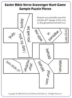 Sample puzzle pieces for the Easter Bible verse scavenger
