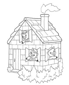 Three little pigs and the big bad wolf coloring page