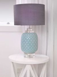 Teal Glass Pineapple Lamp with Grey Shade | For the Home ...