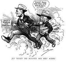A political cartoon showing some of the controversy