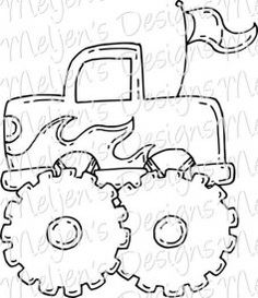 Pickup truck pattern. Use the printable outline for crafts