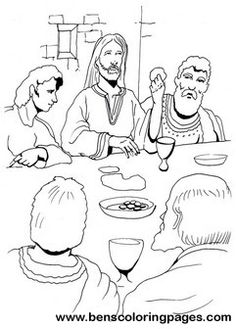 Last supper, Bible coloring pages and Suppers on Pinterest