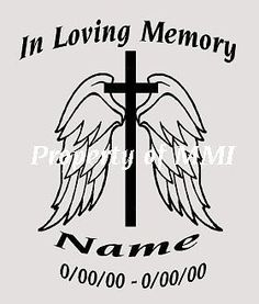 In Loving Memory Angel Wings Die-Cut Decal Car Window Wall