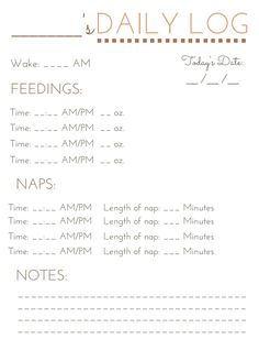 Free printable Baby Feeding Schedule (PDF) from Vertex42