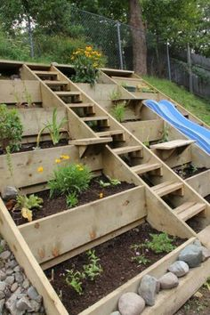 Steps Up A Slope Using Timbers Terraced Hillside Vegetable