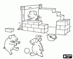Three little pigs coloring page: the big bad wolf blowing