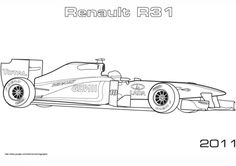 Formula 1 Racing Car coloring page. One of the free Car