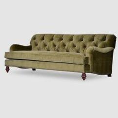 Moss Green Velvet Chesterfield Sofa Single Cushion Uk Lee Industries With Turned Leg, Tight Back; 3278-03 ...