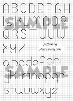 Free alphabet chart for counted cross stitch from Yarntree