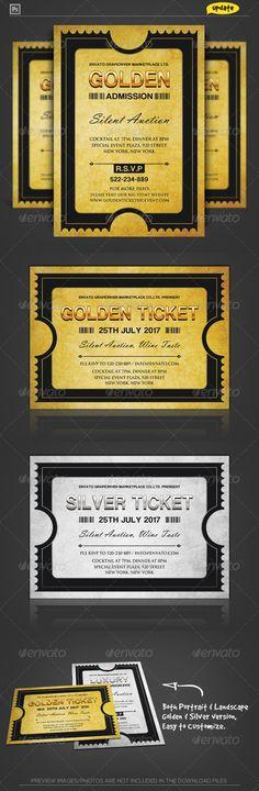 Golden Silver Ticket Corporate Invitation II Invitation