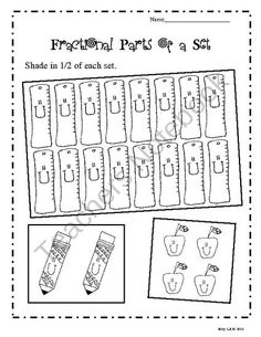 Fractional Parts of a Set Worksheets (shamrocks/eggs