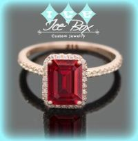 Ruby Engagement Ring In 14k Gold and Diamond Halo Setting ...