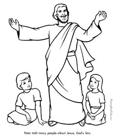 Download this free Peter preaching coloring page from