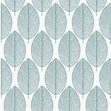 Habitat Stitch Leaf Printed Wallpaper Kingfisher Blue At