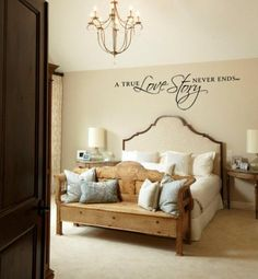 A True Love Story Never Ends Vinyl Wall Decal Quote For Bedroom Lettering Decoration 15 H X 53 W
