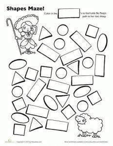 Maze, Preschool shapes and Worksheets on Pinterest