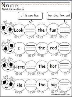 Students complete the sentences by writing the sight words