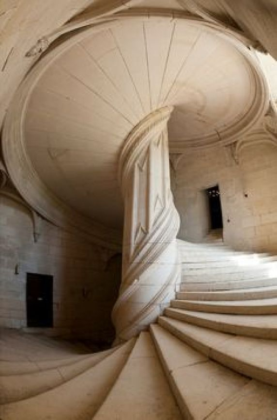 The staircase attributed to Leonardo DaVinci, constructed in 1520, at the Chateau de La Rochefoucauld, Charente, France