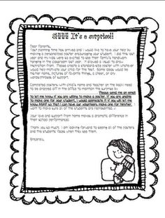 Letter asking parents to send positive messages for