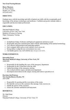 Sample Nursing Resume New Graduate Nurse Nursing And