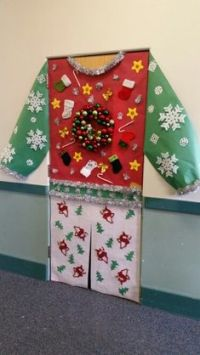 Ugly Christmas Sweater Door Decorations - Cardigan With ...