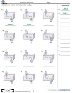 In-Out Boxes Worksheets: Include addition, subtraction