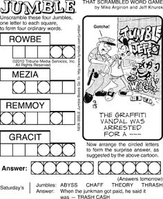 David Hoyt does Jumble, Word Roundup, Picturrific and many