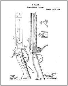1911 Colt 45 Pistol PATENT, Drawing Design, ART Print