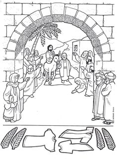 Jesus rides donkey into Jerusalem coloring page (for Palm