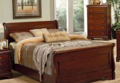 Queen Size Sleigh Bedroom Set Louis Philippe Style In Black Finish