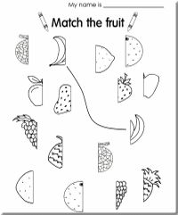 Fruits Worksheets,Printable Worksheets,Science Matching
