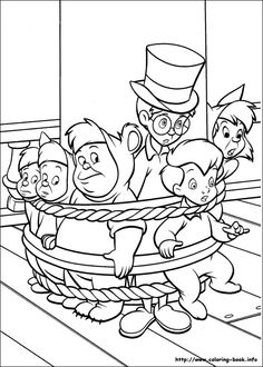 Peter Pan, Tinkerbell, and Captain Hook Coloring Pages for