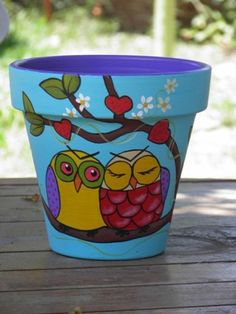 Pottery Hand Painted Flower Pot Rustic Flower Pot Painted Clay