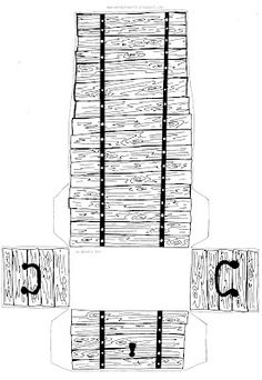 Dimensions for cutting out paper pirate treasure chest