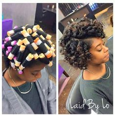Roller Set Natural Hair African American Hairstyles Buns And