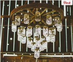 Wood Wagon Wheel 30 Chandelier Mason Jar Triple Tier Wedding Wagonwheelcountrywesternprimitive Let Ur Light So Shine Pinterest Jars
