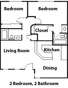 Diagram: Floor plan of a 2 bedroom apartment flat at The