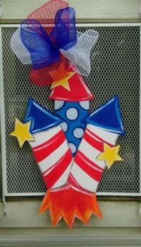 Door Hanger Fourth of July HAPPY FOURTH Uncle Sam ...