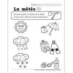 Sur le thème de la météo : Page de garde du cahier d