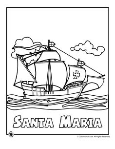 Nina, Pinta, and Santa Maria coloring sheet. Columbus
