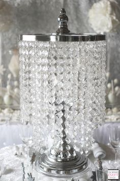 Elegant Use A Tabletop Chandelier From Koyal Whole As Centerpiece Featured In Winter White Bridal