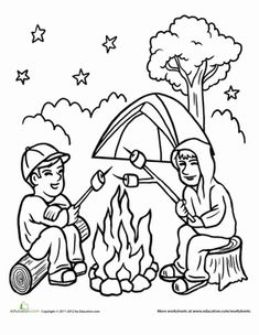 12 camping coloring pages for summer camp, kids travel
