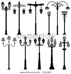 Set of Three Unique, Old-Fashioned Streetlamp Die Cuts