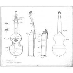 Technical Drawing of bass viola da gamba by Ventura