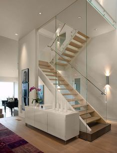 Stairs In Elegant Modern House In West Vancouver Canada
